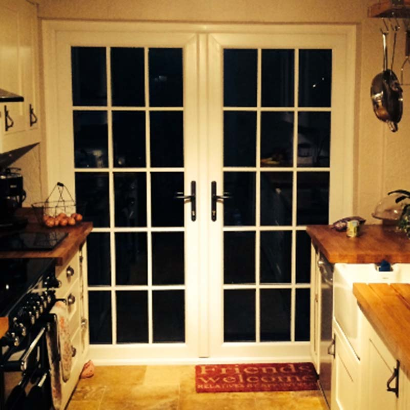 15 panel glass door in kitchen area