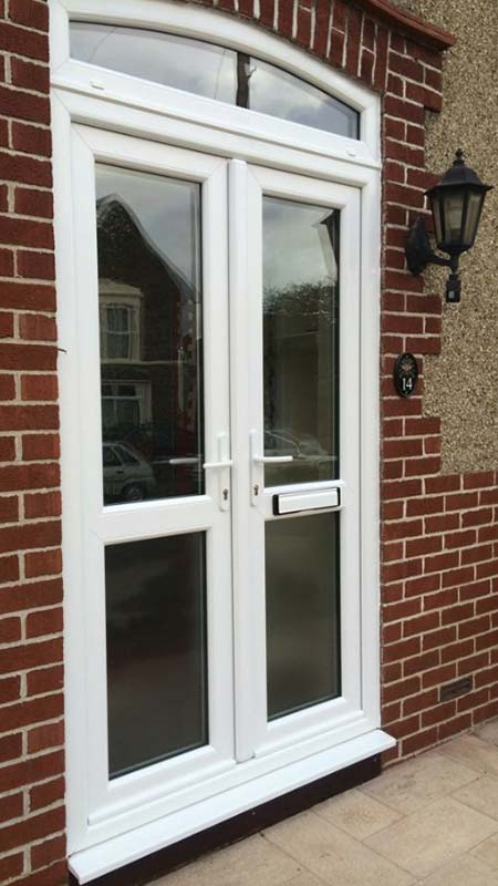 Double front door with windows, Bristol south west England
